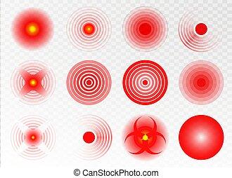 koerper, rotes , solch, hals, ikone, ringe, localization, verschieden, zurück, anzeigen, kopf, menschliche , mark., kreis, zurück, oder, schmerz, others., set., zubehörteil, vektor