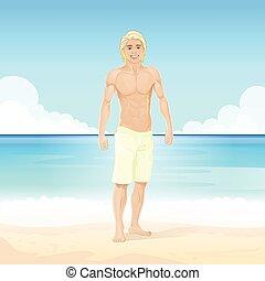 koerper, sommer, sandstrand, muskulös, sexy, kerl, mann