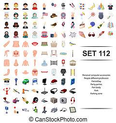 koerper, verschieden, persönlich, zone, leute, beruf, set., parteien, park, patriot, abbildung, accessoirs, vektor, edv, parken, party, teil, tag, ikone