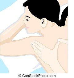 koerper, voll, massage