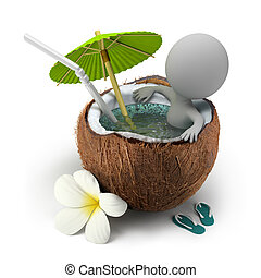 kokosnuss, nimmt, leute, -, bad, klein, 3d