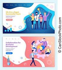 Kollaboration Idee Leute Team mit Preis in Händen
