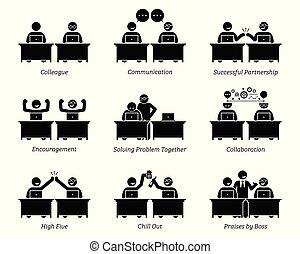 kollege, partner, geschaeftswelt, arbeitende , büro., zusammen, arbeitsplatz, leistungsfähig
