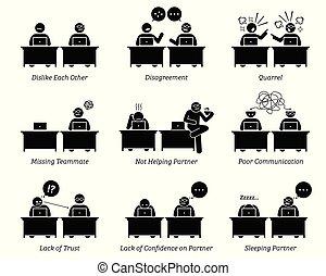 Kollegen und Geschäftspartner arbeiten ineffizient am Arbeitsplatz zusammen.