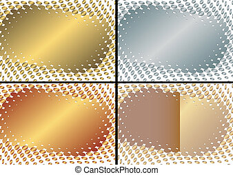 Kollektion gold, silber und rahmen (vektor)