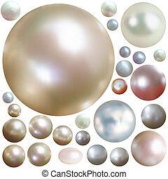 Kollektion von Farbperlen, isoliert auf Weiß.