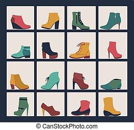 Kollektion von Schuhen auf Regalen von Geschäft.