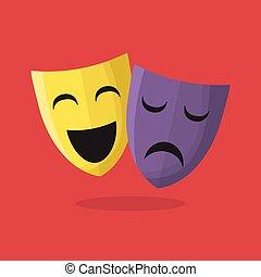 Komödie und Tragödie Theatermasken