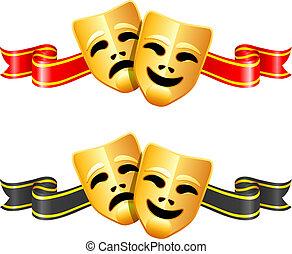 Komödien und Theatermasken