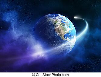 Komet bewegt sich durch die Erde