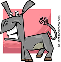 Komische Esel-Cartoon- Illustration.