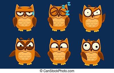 Komische Eulen-Zeichen, süße Vögel mit verschiedenen Emotionen vektor Illustration