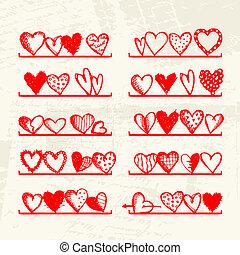 Komische Herzen auf Regalen, Zeichnung für Ihr Design.