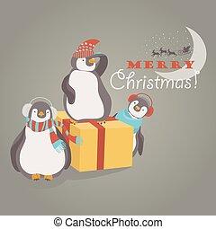 Komische Pinguin-Freunde feiern Weihnachten
