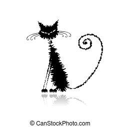 Komische schwarze, nasse Katze für dein Design.