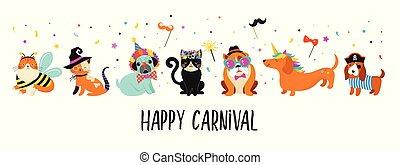 Komische Tiere, Tiere. Schöne Hunde und Katzen mit bunten Karnevalskostümen, Vektorgrafik