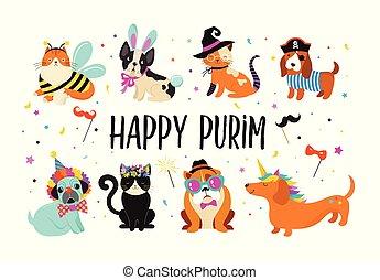Komische Tiere, Tiere. Schöne Hunde und Katzen mit bunten Karnevalskostümen, Vektorgrafik. Happy Purim Banner
