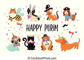 Komische Tiere, Tiere. Schöne Hunde und Katzen mit bunten Karnevalskostümen, Vektorgrafik, Happy Purim Banner