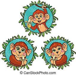 Komischer Affe mit einer Banane in der Hand. Vector Set