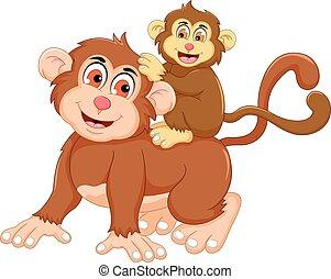 Komischer Affentrickfilm mit ihrem Baby.