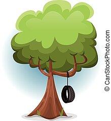 Komischer Frühlingsbaum mit Schaukelreifen.