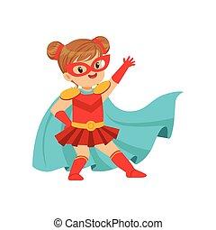 Komischer Junge in Superhelden-Rotkostüm mit Maske auf Gesicht und Entwicklung in der Windblauen Tarnung, posieren und winken ihre Hand.