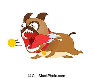 Komischer Karikaturenhund, der hinter dem Tennisball her ist. Nette Welpe Vektorgrafik.