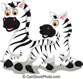 Komischer Zebra-Cartoon mit ihrem Baby.
