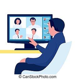 kommunikation, gruppe, concept., online, person, versammlung, video, mannschaft, conference., leute., vektor