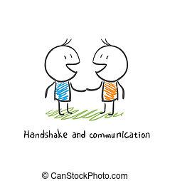kommunikation, hã¤ndedruck