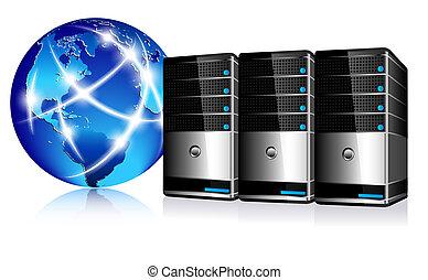 kommunikation, server, internet