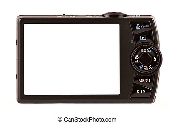 kompakt, freigestellt, fotoapperat, digital, weißes, hintere ansicht