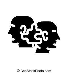 kompatibilität, vektor, ikone, abbildung, menschliche , glyph