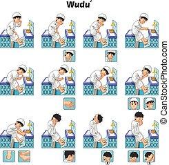 Komplettes Set von muslim wudu oder Waschung Führer Schritt für Schritt von Jungen.