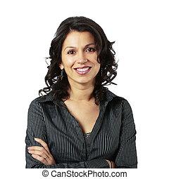 Komponierte Latin-Geschäftsfrau lächelt