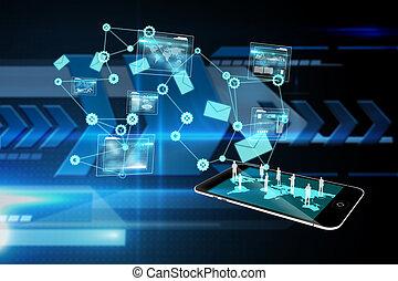 Komposites Bild der Datenanalyse Schnittstelle Hintergrund.