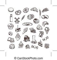 Konfektionierung, Zeichnungen von Symbolen.
