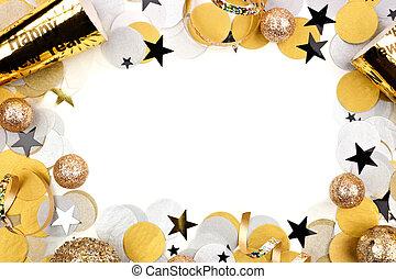 konfetti, neu , vorabend, freigestellt, weißes, rahmen, dekor, jahre