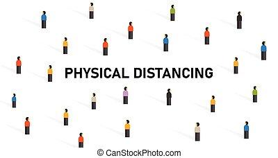 kontakt, leute, distancing, vermeiden, physisch, korona, spannweite, crowd, covid-19, virus