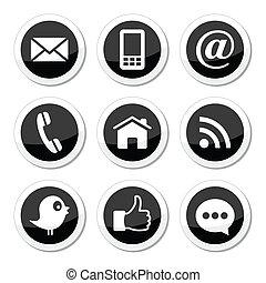 Kontakt, Web, Social Media Icons.