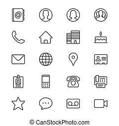Kontaktieren Sie dünne Icons