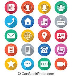 Kontaktieren Sie Flachfarben-Icons