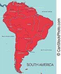 kontinent, vektor, amerika, landkarte, süden