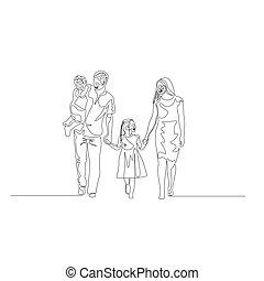 Kontinuierliche eine Linie glückliche Familie, die die Hände hält. Vater hält den Sohn in seinen Armen. Familienkonzept