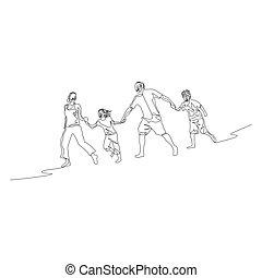 Kontinuierliche Familie, die die Hände hält und in einer Reihe läuft.