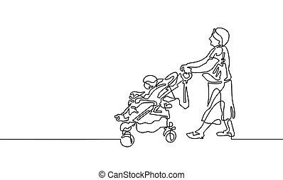 Kontinuierliche Zeichnung von Großmutter geht mit einem Baby.