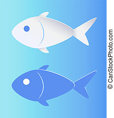 Kontrastfarbene Fischsilhouette isoliert auf blau