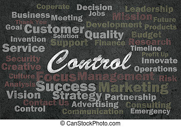 Kontrollkonzept mit unternehmerischen Worten über den rückwirkenden Hintergrund