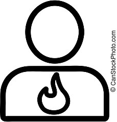 kontur, magen, mann, vector., abbildung, symbol, freigestellt, ikone