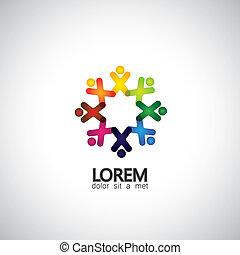 Konzept der Gemeinschaft Einheit, Solidarität & Menschen Icons - Vektor g